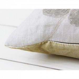 Nova Marble Leaf Cushion - sequin & velvet detail  - Voyage Maison