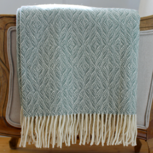 Grey/Green Herringbone Lamb's Wool Throw