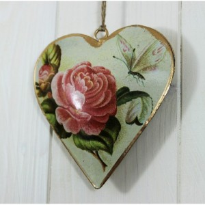 Vintage Hanging Rose Heart - - Home Decor by Lily & Moor