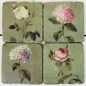 Rustic Green Flower Coasters - Home Decor by Lily & Moor