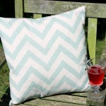 Duck Egg Zig Zag Cushion - Feather Filled Patterned Cushions