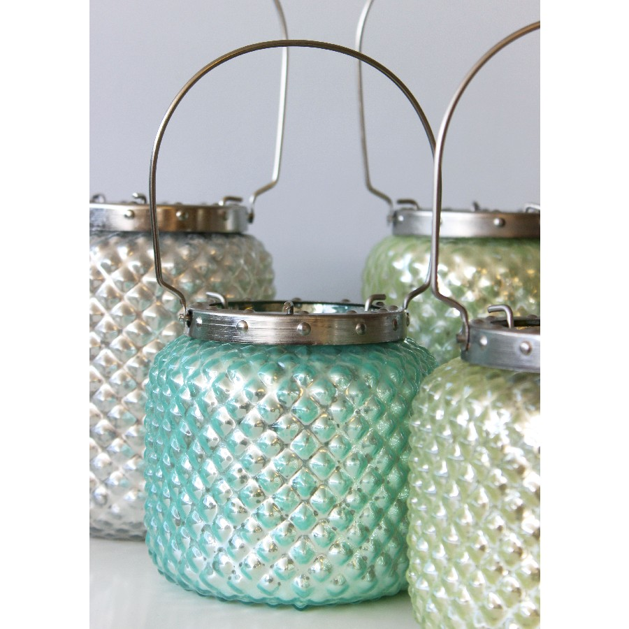Hobnail Lanterns in Aqua, Pearl & Sea Green colours - Lily&Moor Home Decor
