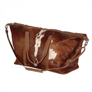 Brown & White Cow Hide Travel Bag