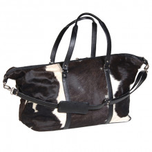 Black & White Cow Hide Travel Bag