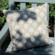 Olive Cushion with Tree Design