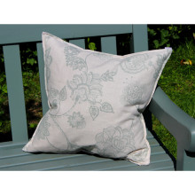 Linen Duck Egg Floral Print Cushion