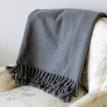 Charcoal Duck Weave Cotton Throw