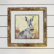 Brushed Gold Framed Hare Picture
