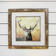 Brushed Gold Framed Stag Picture