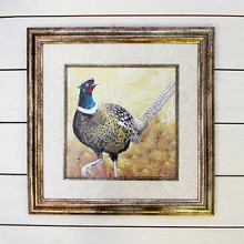 Brushed Gold Framed Pheasant Picture