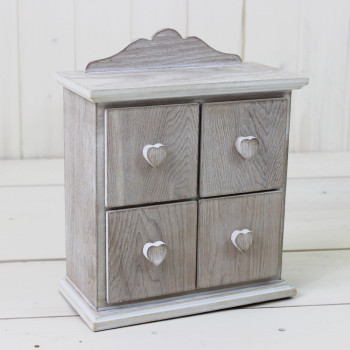 Lime Washed 4 Drawer Heart Chest