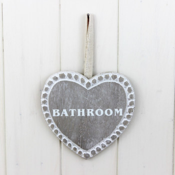 White Washed 'Bathroom' Sign