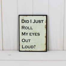 'Did I Just Roll My Eyes Out Loud' Plaque