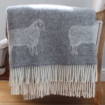 Grey Woollen Sheep Throw