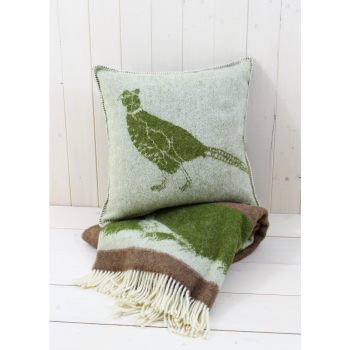 Green Woollen Pheasant Throw