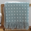 Grey/Green Spot Lamb's Wool Throw