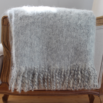 Grey/Cream Mohair Lamb's Wool Throw