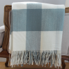 Blue/Cream Large Check Lamb's Wool Throw