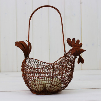 Rustic Wire Chicken Egg Basket