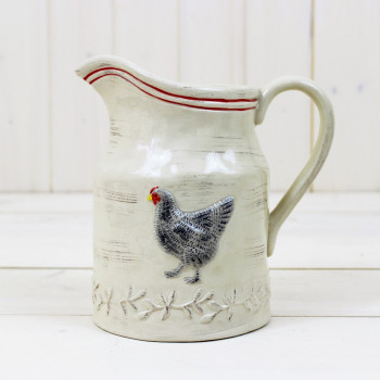 Embossed Cream Chicken Jug