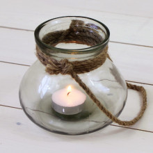 Rope Handle Glass T Light Holder