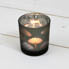 Small Glass Leaf T Light Holder