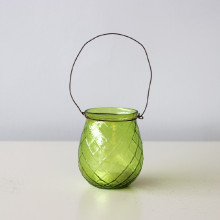 Green Glass T Light Holder