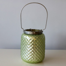 Tall Sea-Green Hobnail Lantern
