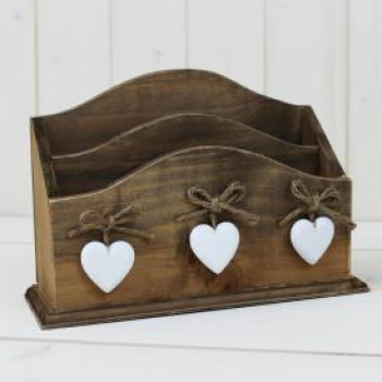 Wooden Letter Rack with White Hearts