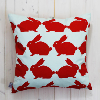 Orange & Pale Blue Kissing Rabbits Cushion